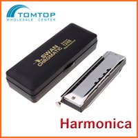 Wholesale Top Quality Swan Chromatic Harmonica Gaita Mouth Organ Holes with Tone Key of C Reed Wind Music Instrument with Case