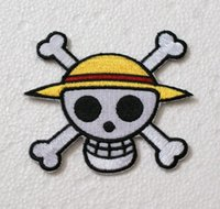 anime patches - 2pcs Anime One Piece Iron on Embroidered Patch High Quality Patch DIY Badge Applique skull straw hat cm