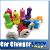 Wholesale Dual Port USB Car Charger USB Adapter mah Colorful Car Charger for ipad iPhone PLUS G C S S Samsung Galaxy S5 Note Note