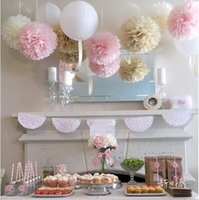 Wholesale 45pcs mixed size cm cm cm Tissue paper pom poms artificial flowers balls birthday Wedding decoration kids party supplies