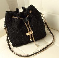 Wholesale Designer Winter Drawstring Bag Worsted Fabric Black Purple Color Mix Special Offer B11
