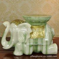 Cheap Chinese minimalist style resin crafts imitation jade elephant stool changing his shoes stool entrance practical furnishings