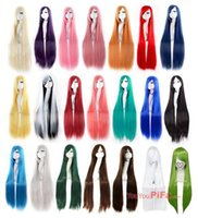 Wholesale Cosplay Wig Oblique Bangs Long Straight Wigs cm inch Costume party hair wig