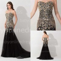 Wholesale Real Image Sexy Designer Occasion Dresses Mermaid Black Crystals Beads Party Prom Dresses Pageant Dress Formal Evening Gowns BZP0438