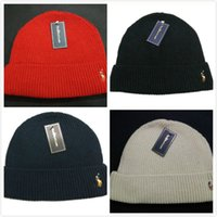 Wholesale Polo Knitted Wool Cap Hip Hop Hat Winter Warm Snow Ski Cap Beanies Hat Casual Skull Cap For Men And Women