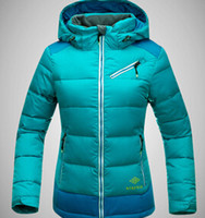 Wholesale KEKEMAR Winter outdoor sports woman down jacket with cap skiing Camping Hiking thickening coat