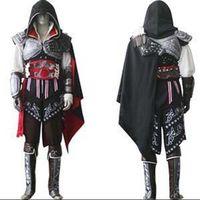 achat en gros de ezio costume-Assassin's Creed II 2 Ezio noir drapeau Cosplay Auditore da Firenze Black Edition Cosplay Costume fait sur mesure n'importe quelle taille pour Halloween Party