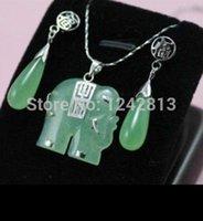 Cheap Beautiful! green jade elephant Jewellery necklace Pendant earring Set