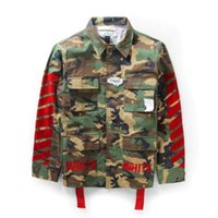 Wholesale 2015 winter new hip hop street brand Pyrex C O Virgil Abloh OFF WHITE jacket shirts Military camouflage camo stripes men coats