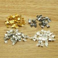 crimp cord end - hot gold rhodium silver gunmetal Tone Necklace Cord Crimp End Caps W Loop x7mm