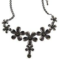 Cheap Women Punk Magic Black Flower-shaped Simulated Diamond Pendant Statement Necklaces Jewelry