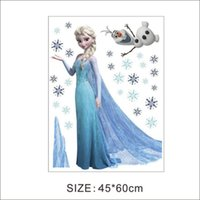 Wholesale 50pcs Frozen Queen Elsa Wall Stickers Olaf Decorative Wall Decal Cartoon Wallpaper Kids Decoration Christmas Wall Art New Exclusive Sales