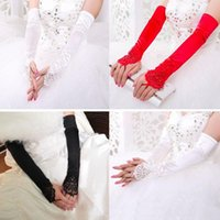 Wholesale White Ivory Black Red Wedding Accessories Bridal Gloves Silk Like Satin Lace Appliques Above Elbow Length Fingerless Gloves