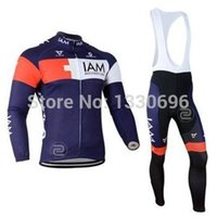 Wholesale 2015 New IAM men cycling Jersey sets in winter autumn fall with long sleeve bike top bib pants in cycling clothing bicycle wear