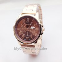Wholesale High Quality New Geneva Best Seller Watch Quartz Relogio Roman Numerals Gold Band Analog Wrist Watch with Colorful Watch Dial