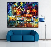 architecture rooms - Modern Palette Knife Oil Picture Night Windmill Building Town Architecture Art Canvas Printing for Living Room Office Wall Decoration
