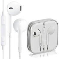 Wholesale Top AAAAA quality Headphone iPhone7 s S Earphone White Headset Ear buds mm Stereo Handsfree with Remote Mic Earphones with box