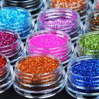 Wholesale 12 Color Metal Glitter Nail Art Tool Kit Acrylic UV Powder Dust gem Polish Nail Tools M01090