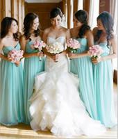 aqua wedding dresses - Gorgeous Aqua Bridesmaid Dresses Spring Strapless Sweetheart Neckline A line Crisscross Pleats Long Chiffon Wedding Party Dresses