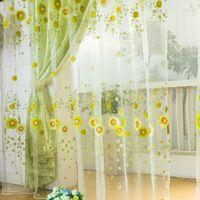 Wholesale Pastoral Sunflower Tulle Voile Window Curtain Drape Panel Sheer Scarf Valances