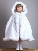 fur flower scarf - 2016 New Arrival Warm Hooded Children s White Satin Flower Girl Wedding Cloak With Faux Fur Trim Tea Length Winter Kid Long Wraps Jacket