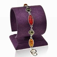 amber stones for sale - New Arrival Bracelets Bangles Faux Amber Fashion Jewelry Silver Plated Chain Pulsera For Women Hot Sale Wrist Hand Stone Bangles