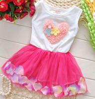 TuTu american lantern lighting - 2016 summer girls love heart dress baby girl vest dresses children dress kids clothes lace heart sleeveless colour petal princess dresses