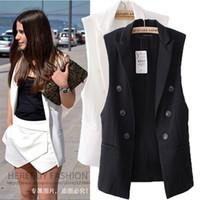 Wholesale Women Waistcoat Double Breasted Long Vest Suit Brand New Fashion Button Up European Style Designer Colete De Pelo