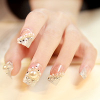 Wholesale 24 Set New Wedding bride bling pearl diamond crystal Acylic D Artificial False Fake Nail Art Tips