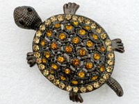 Wholesale Fashion Costume Rhinestone brand brooch jewelry gift TURTLE Crystal Brooches pins C337