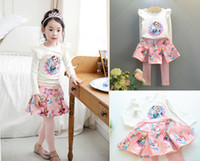 Wholesale 2015 Ice snow suit sale Long sleeve T shirt cotton skirts pants two piece Frozen princess dress Fall kids clothingg sets WY