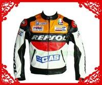 motorcycle leather jacket - NEW TOP quality free New Moto GP motorcycle REPSOL Racing Leather PU Jacket size M L XL XXL ORANGE