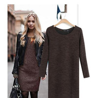 cashmere sweater - 2015 Cheap fall winter Women knitted long sleeve bodycon mini dress casual loose woolen sweater dress Autumn Spring Winter Dress OXL15091405