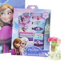 Wholesale 2014 Frozen necklace combination suit every family party girls play princess necklace jewelry hair accessories Children s Jewelry Sets