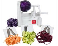 Wholesale 1 Set New and Essential in1Tri Blade Vegetable Slicer Spiralizer Cutter Mandoline Chopper cooking tools kitchen knife freeshipping