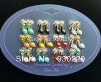 Cheap Wholesale Painting Oil High Heel Stud Earring Fashion Jewelry Gift for Woman 50 bag lot Cheap Novelty Earrings