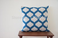 accent pillows blue - Decorative Cotton Linen Pillow Cover Blue Geometric Shape IKAT Moroccan Trellis Cushion Covers Throw Cushions Accent Mix Order
