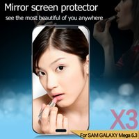 Wholesale Mirror screen protector for Samsung Galaxy Mega I9208 mirror protector for Mega protective film with package