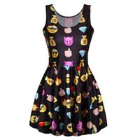 Wholesale Women Sexy Cute Easiness D Digital Print Emoji Skater Clubwear Ball Party Dress Jumper Fashion O Neck Vestidos