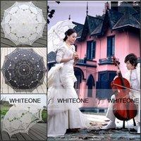 lace hand fan - Elegant Cheap Hand Mande Wedding Fans Appliqué Bridal Parasols Black White Cotton Lace Wood Handle Bridal Fans Parasols For Party