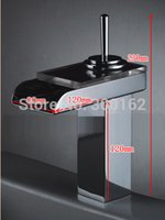 Cheap LED bathroom basin faucet mixer taps sink round glass outlet waterfall color changing