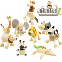 Wholesale Anamalz Maple Wood Moveable Animals Toy Wooden Animal Toys Baby Educational Toys Anamalz Toys set DDA3111