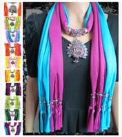Wholesale Scarf Collar Pendant - 2016 metal pendant tassel scarf Alloy peacock pendant scarf Ms sank scarf shawl collar band Pure color