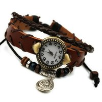 beaded metal watch - Retro fashion Leather watch with metal Pendant for Men and women leather beaded bracelet Wristwatches set