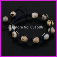agate stone pictures - China Round Picture Stone Agate Bead Braiding Power Bracelet Adjustable Charm Bracelet For Best Friend
