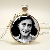 american jewish - 10pcs Anne Frank Necklace Inspirational Jewish Pendant WWII Glass Cabochon Necklace