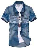 dress shirt for men - Denim shirt New Men Jeans Shirts Summer amp Winter Cotton Water Washing Male Tops Short Sleeve Flower Print Denim shirt For