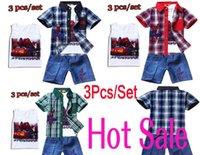 Wholesale New Summer Fashion Cartoon Spiderman Clothing Set Children Shirt Vest Jeans Boys Clothes Kid Casual Suit
