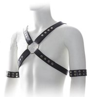 Wholesale 151020 Fetish Sex Bondage Male Leather Harness With Wrist Restraints Erotic Arm Binder Sex Toys For Men Sex Products