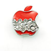 apple bottoms jewelry - Fashion mm Snap Buttons Color Rhinestone Apple Metal Bottom Clasps DIY Ginger Jewelry Accessories